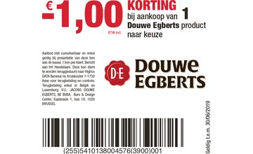 -€1,00 KORTING bij aankoop van 1 Douwe Egberts product naar keuze
