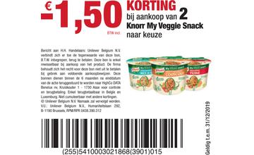 - € 1,50 KORTING bij aankoop van 2 Knorr My Veggie Snack naar keuze