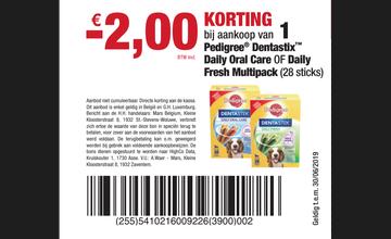€ 2KORTING bij aankoop van 1 Pedigree® DentastixTM Daily Oral Care OF Daily Fresh Multipack (28 sticks)