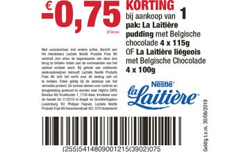 -€0,75 KORTING bij aankoop van 1 pak: La Laitière pudding met Belgische chocolade 4 x 115g OF La Laitière liégeois met Belgische Chocolade 4 x 100g