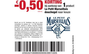 - € 0,50 KORTING bij aankoop van 1product Le Petit Marseillais douchegel naar keuze