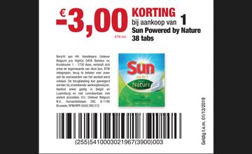 € 3 KORTING bij aankoop van 1 Sun Powered by Nature 38 tabs