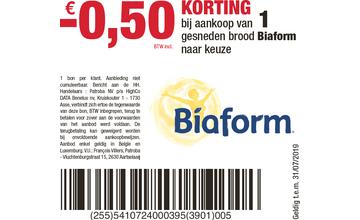 - € 0,50 KORTING bij aankoop van 1 gesneden brood Biaform naar keuze