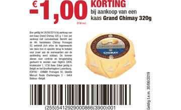 -€ 1,00 KORTING bij aankoop van een kaas Grand Chimay 320g
