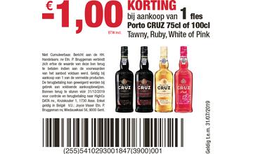 - € 1,00 KORTING bij aankoop van 1fl es Porto CRUZ 75cl of 100cl Tawny, Ruby, White of Pink