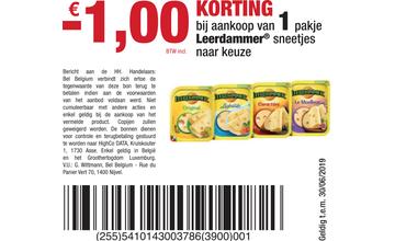 - € 1,00 KORTING bij aankoop van 1 pakje Leerdammer® sneetjes naar keuze