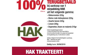 100% TERUGBETAALD bij aankoop van 1 verpakking HAK uit het volgende gamma