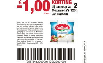 - € 1,00 KORTING bij aankoop van 2 Mozzarella's 125g van Galbani