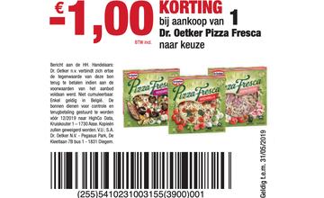 - € 1,00 KORTING bij aankoop van 1 Dr. Oetker Pizza Fresca naar keuze