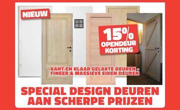15% opendeur korting op kant en klaar gelakte deuren - fineer + massieve eiken deuren
