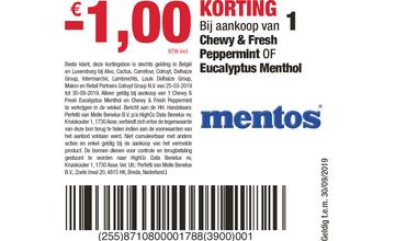 - €1,00 KORTING Bij aankoop van 1 Mentos Chewy & Fresh Peppermint OF Eucalyptus Menthol