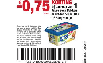 - € 0,75 KORTING bij aankoop van 1 Alpro soya Bakken & Braden 500ml fl es oF 500g vlootje