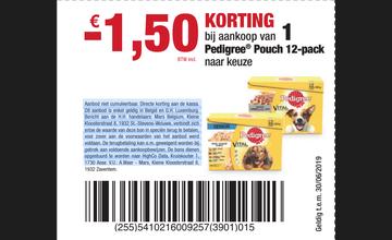 € 1,50 KORTING bij aankoop van 1 Pedigree® Pouch 12-pack naar keuze