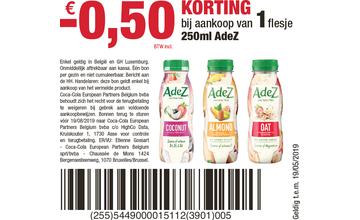 - €0,50 KORTING bij aankoop van 1 flesje 250ml AdeZ
