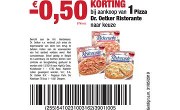 - € 0,50 KORTING bij aankoop van 1 Pizza Dr. Oetker Ristorante naar keuze