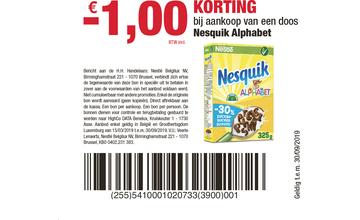 -€ 1,00 KORTING bij aankoop van een doos Nesquik Alphabet