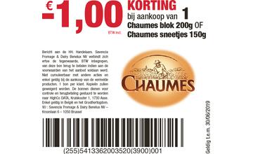 -€1,00 KORTING bij aankoop van 1 Chaumes blok 200g OF Chaumes sneetjes 150g