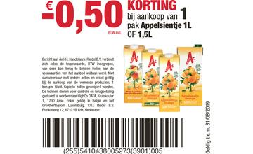 € 0,50 KORTING bij aankoop van 1 pak Appelsientje 1L OF 1,5L